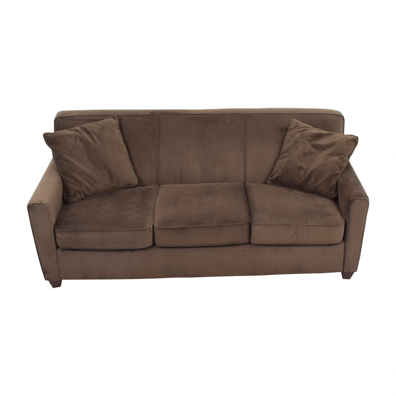 Brown Microfiber Three Cushion Sofa