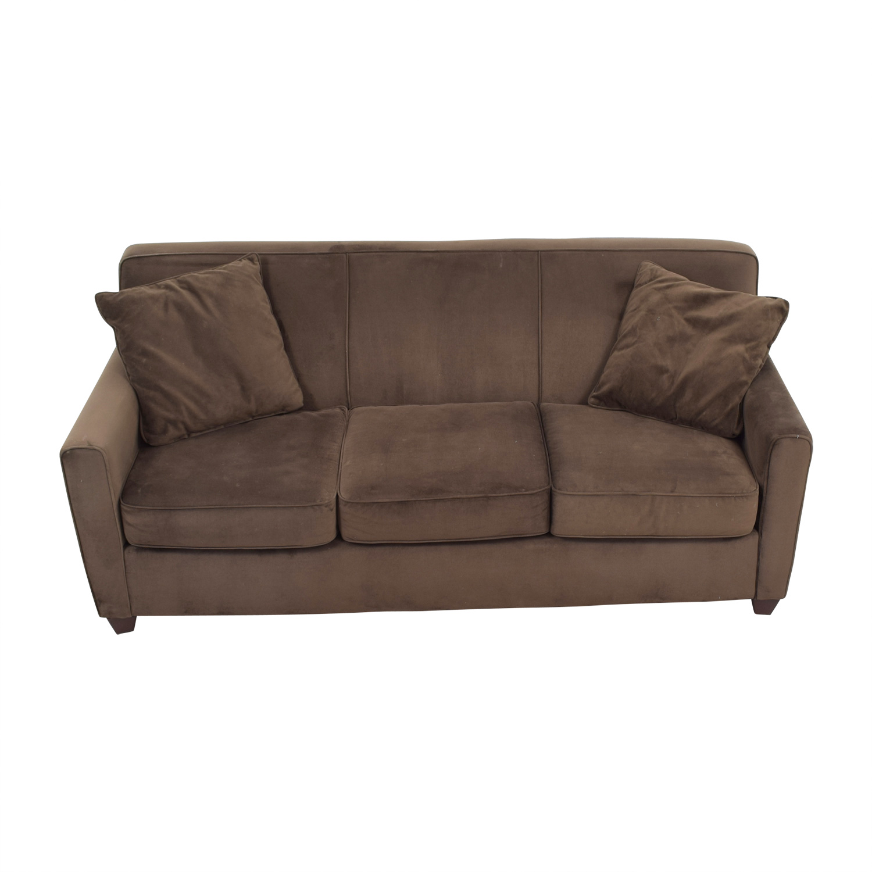 Brown Microfiber Three Cushion Sofa / Classic Sofas