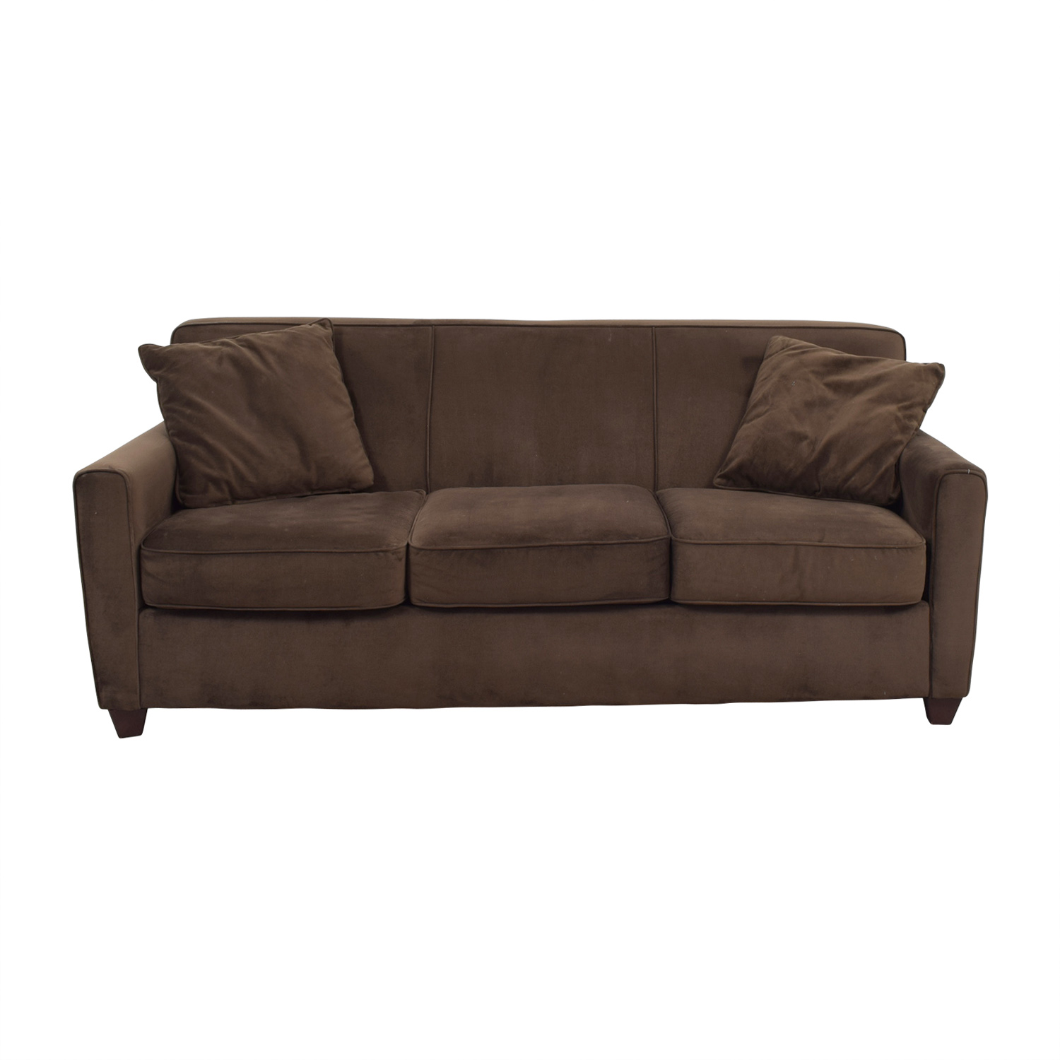 Delicieux Brown Microfiber Three Cushion Sofa Classic Sofas ...