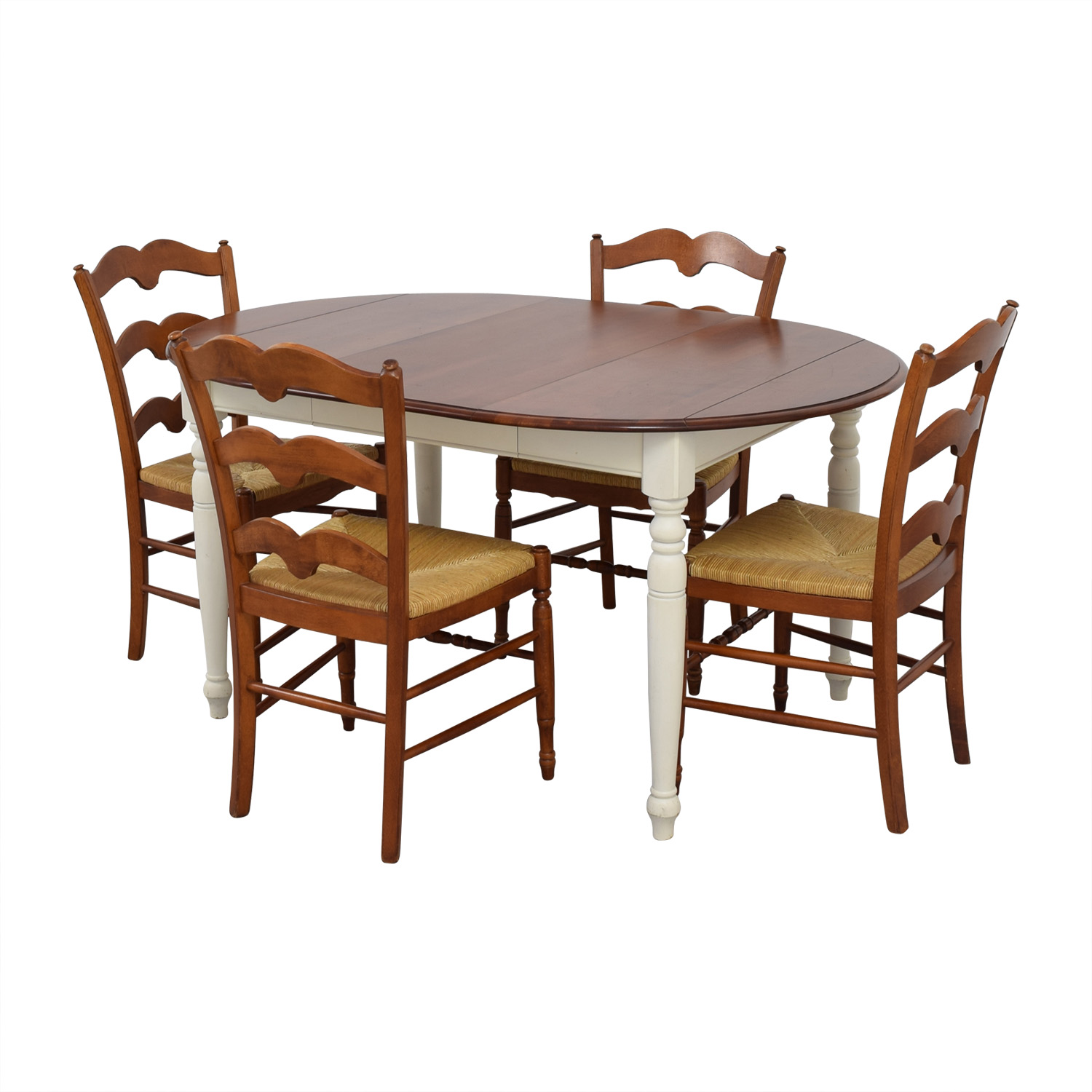 Multicolored Wooden Dining Set with Leaf Extension brown and white