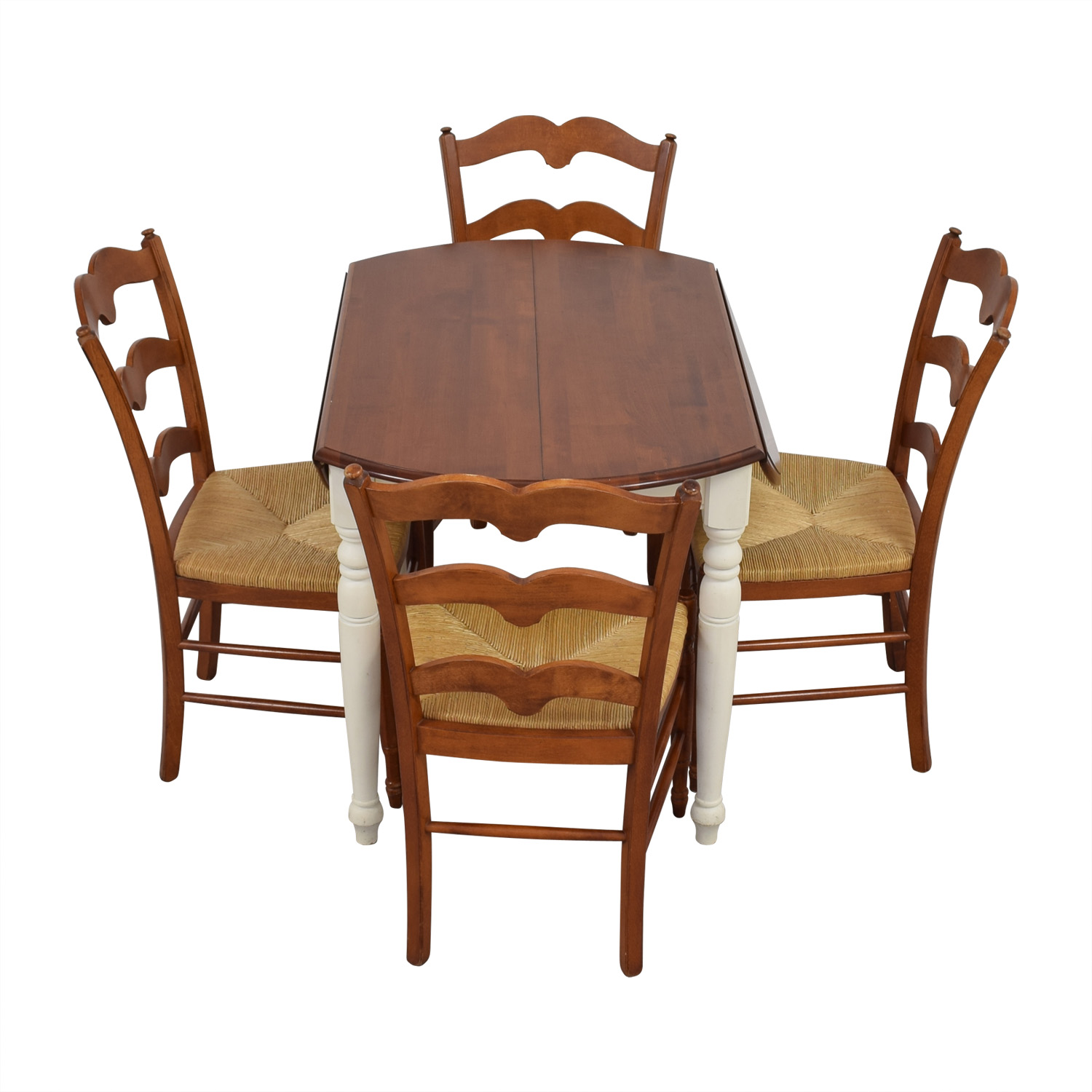 Multicolored Wooden Dining Set with Leaf Extension second hand