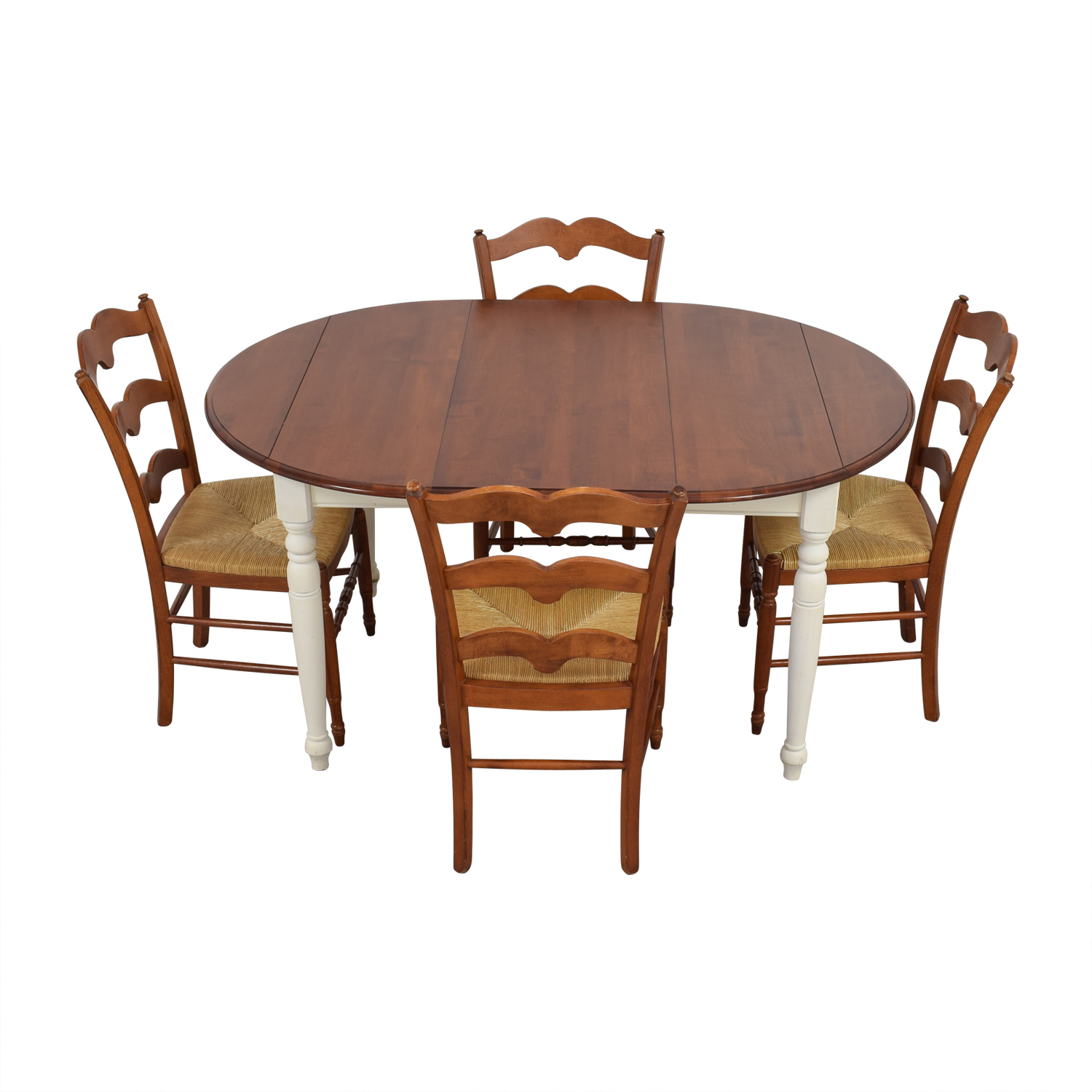 Multicolored Wooden Dining Set with Leaf Extension nj