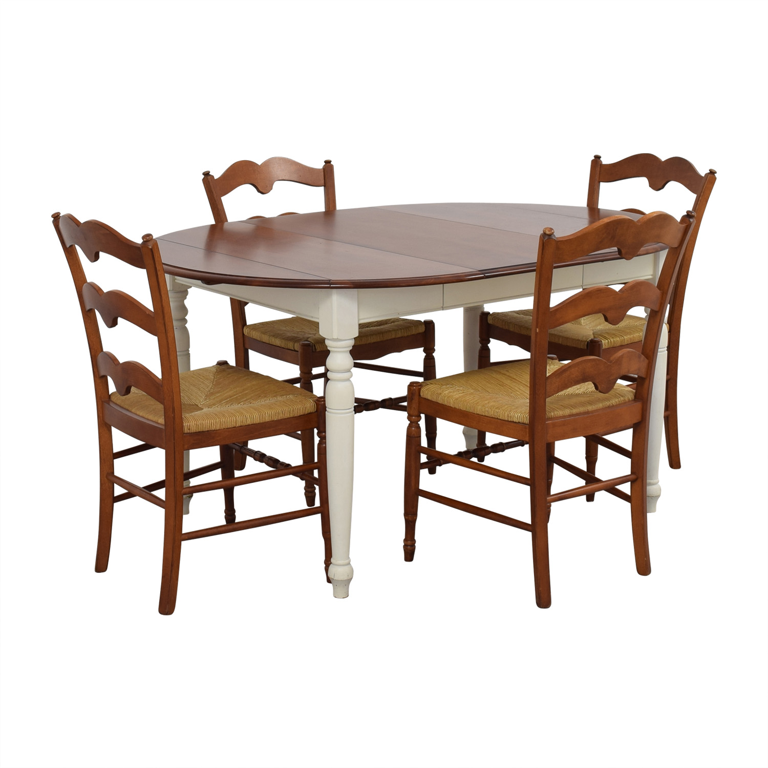 Multicolored Wooden Dining Set with Leaf Extension used