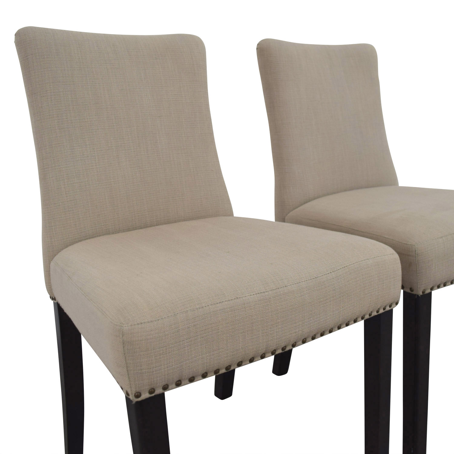 shop West Elm Tan Fabric Nailhead Side Chairs West Elm Chairs