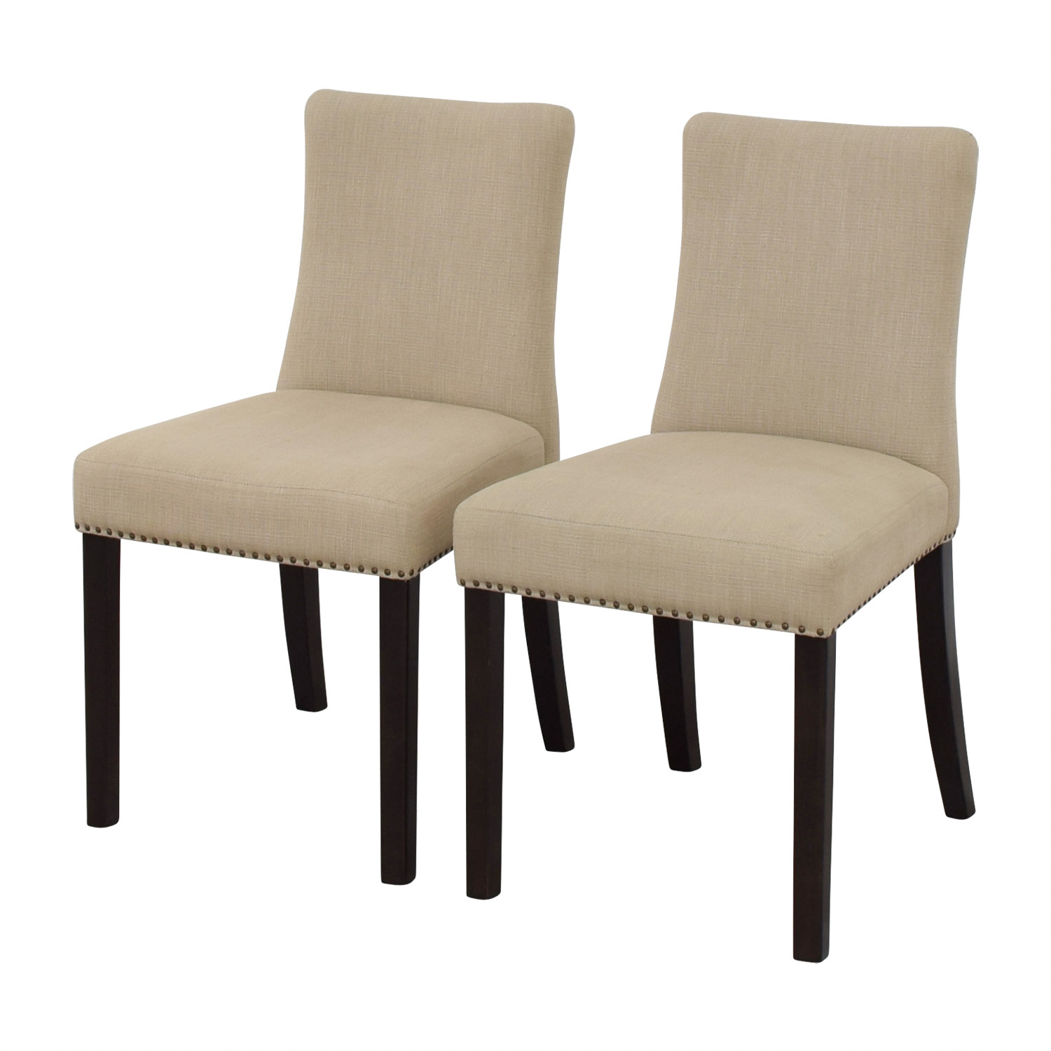 West Elm West Elm Tan Fabric Nailhead Side Chairs nyc