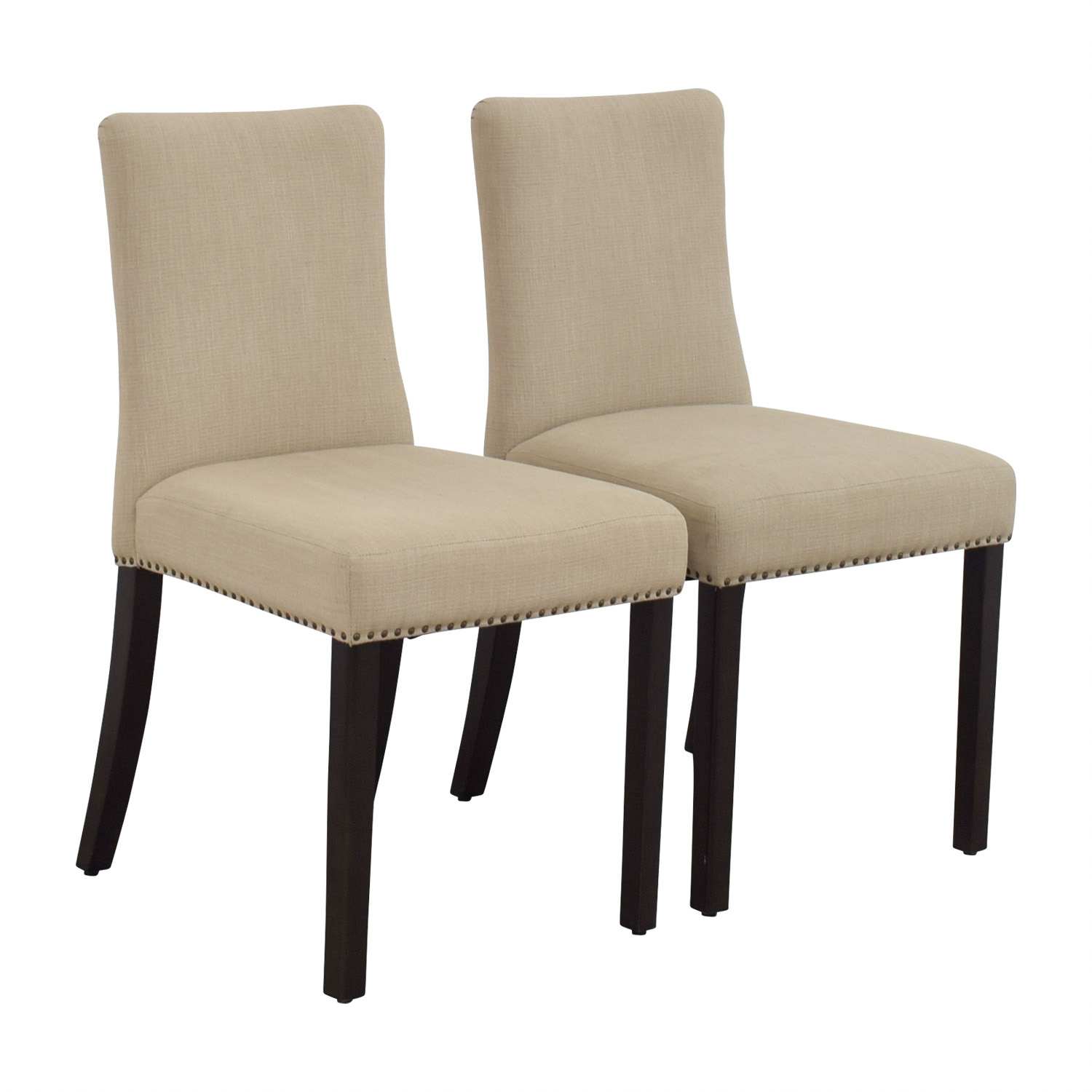 buy West Elm Tan Fabric Nailhead Side Chairs West Elm Chairs