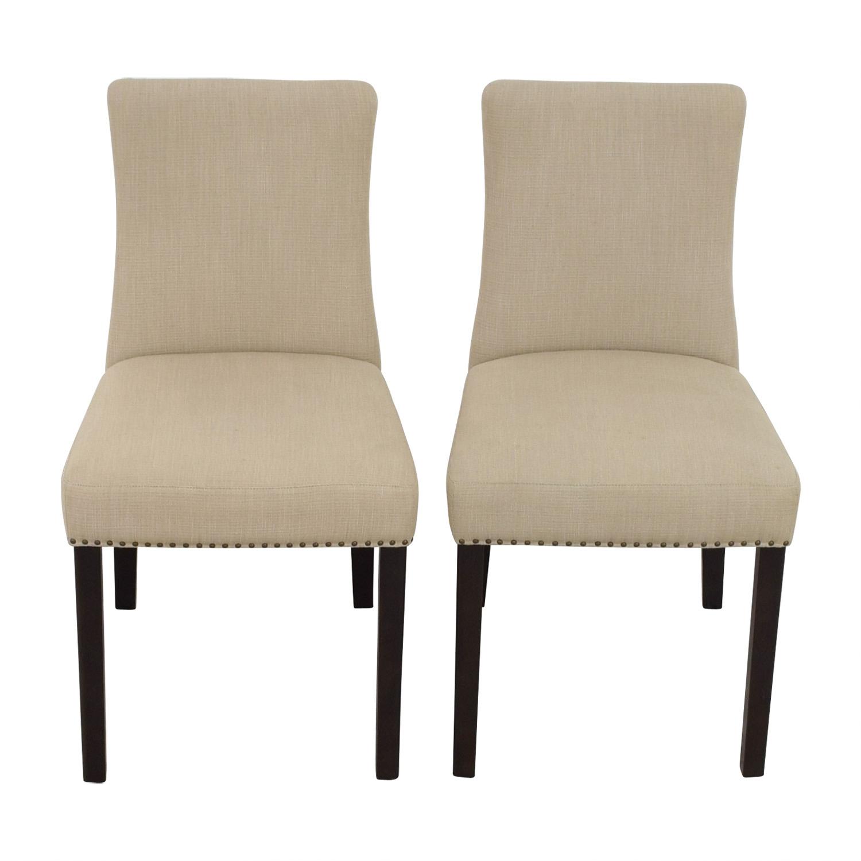 shop West Elm Tan Fabric Nailhead Side Chairs West Elm