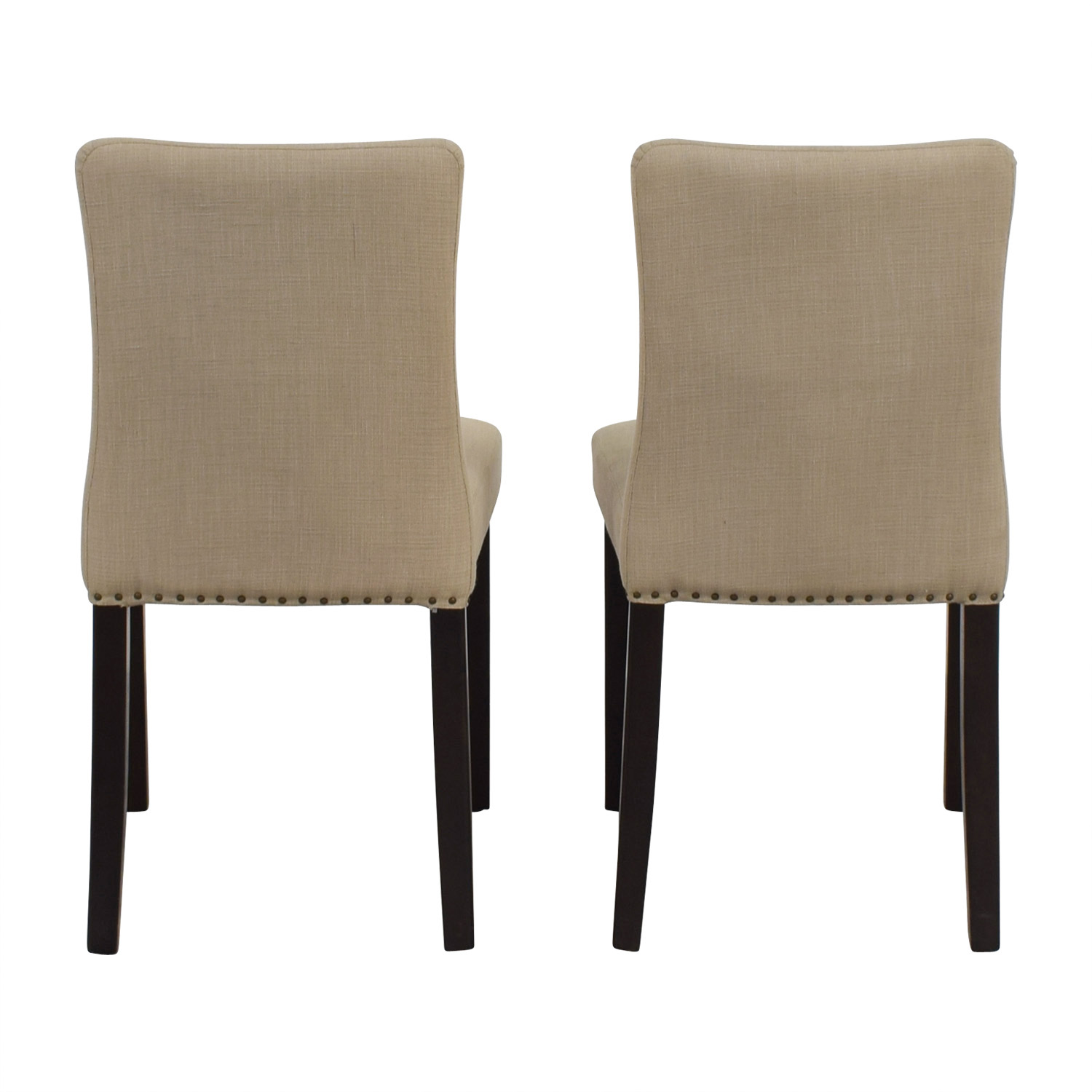 West Elm West Elm Tan Fabric Nailhead Side Chairs used