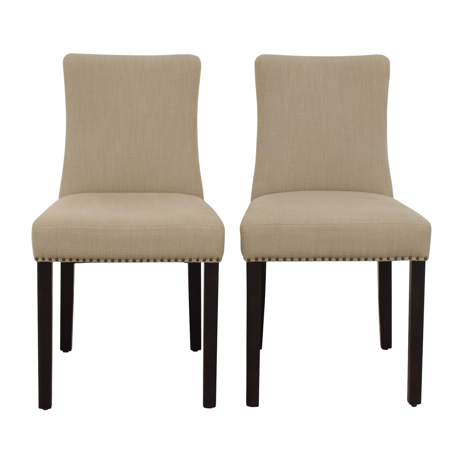 West Elm West Elm Tan Fabric Nailhead Side Chairs on sale