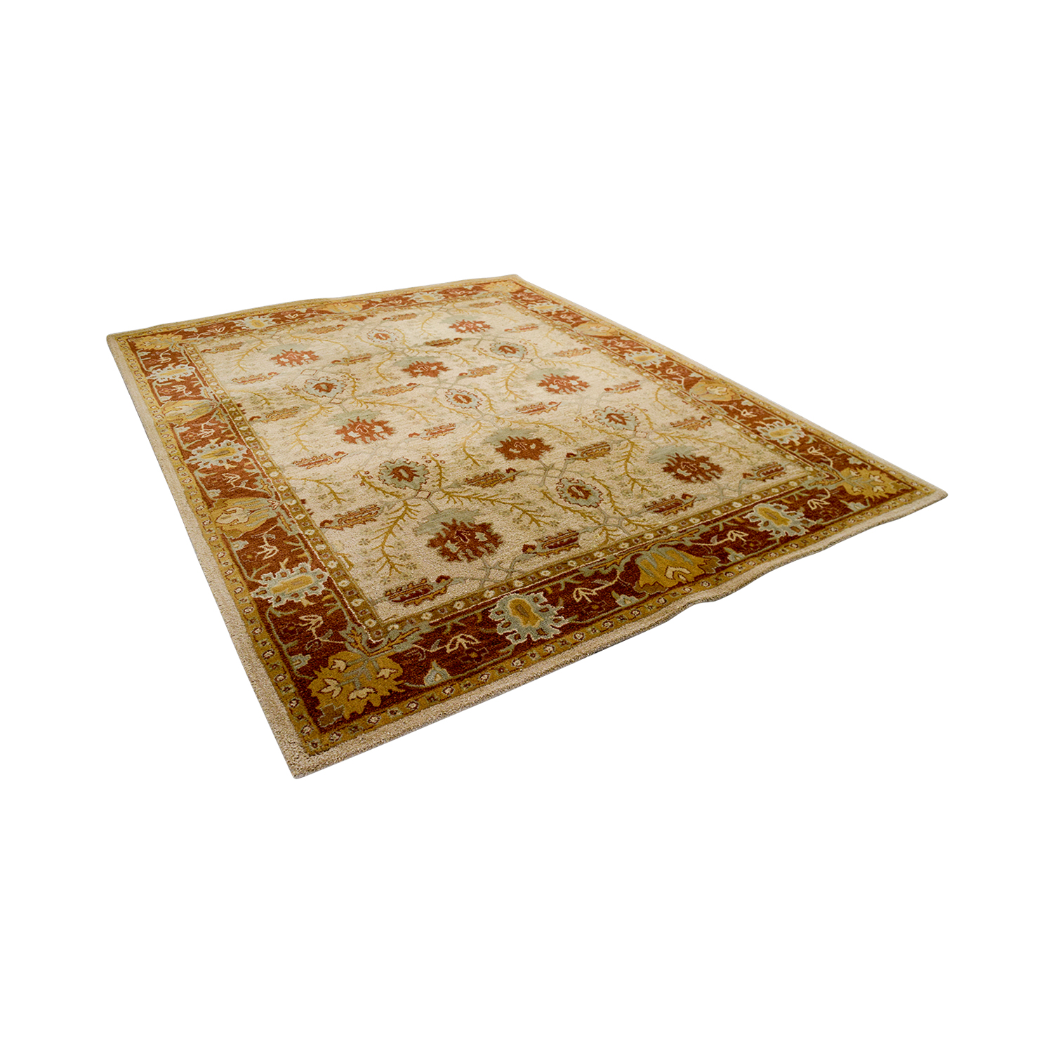 Pottery Barn Pottery Barn Tan and Red Rug second hand
