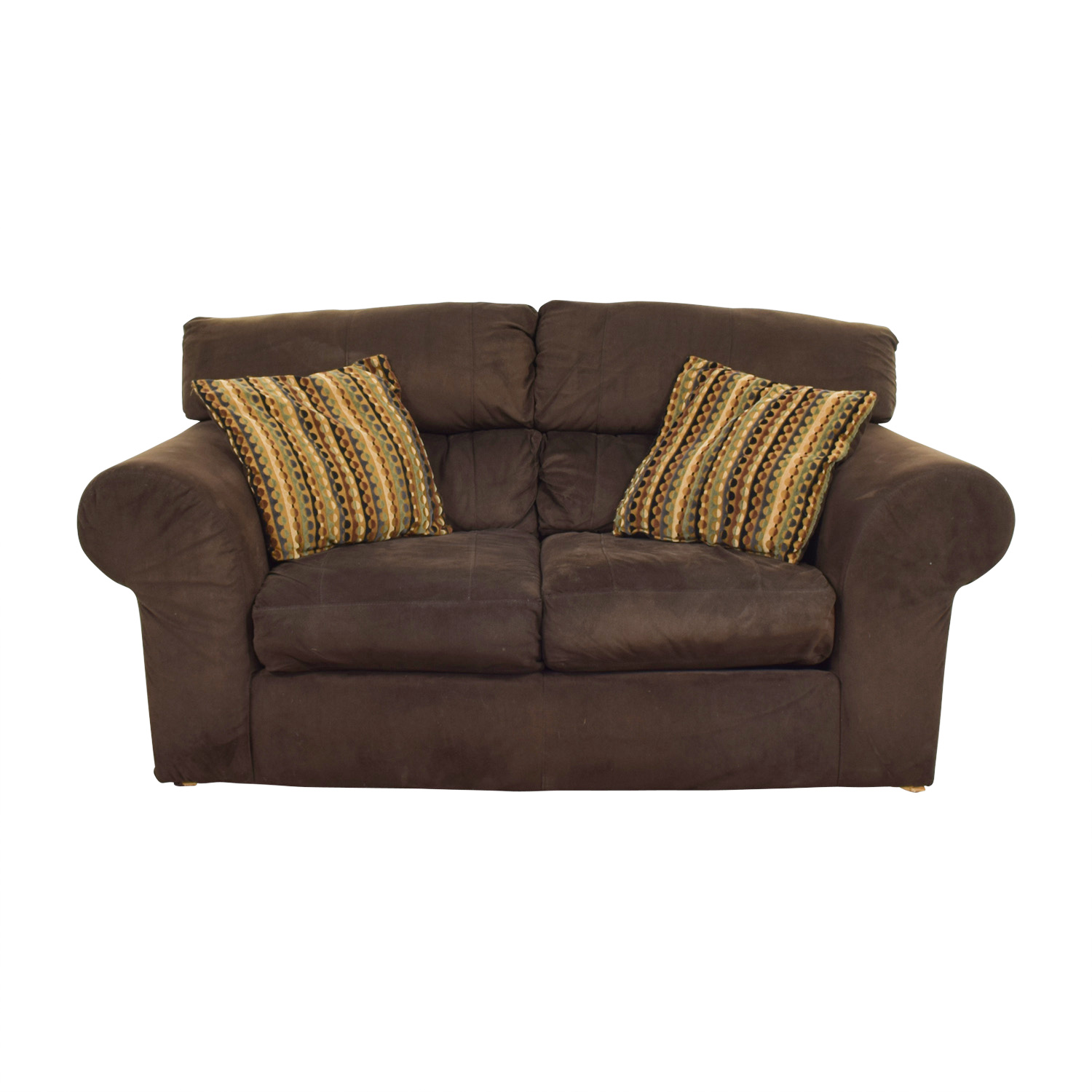 Bobs Furniture Bobs Furniture Brown Two Cushion Loveseat discount