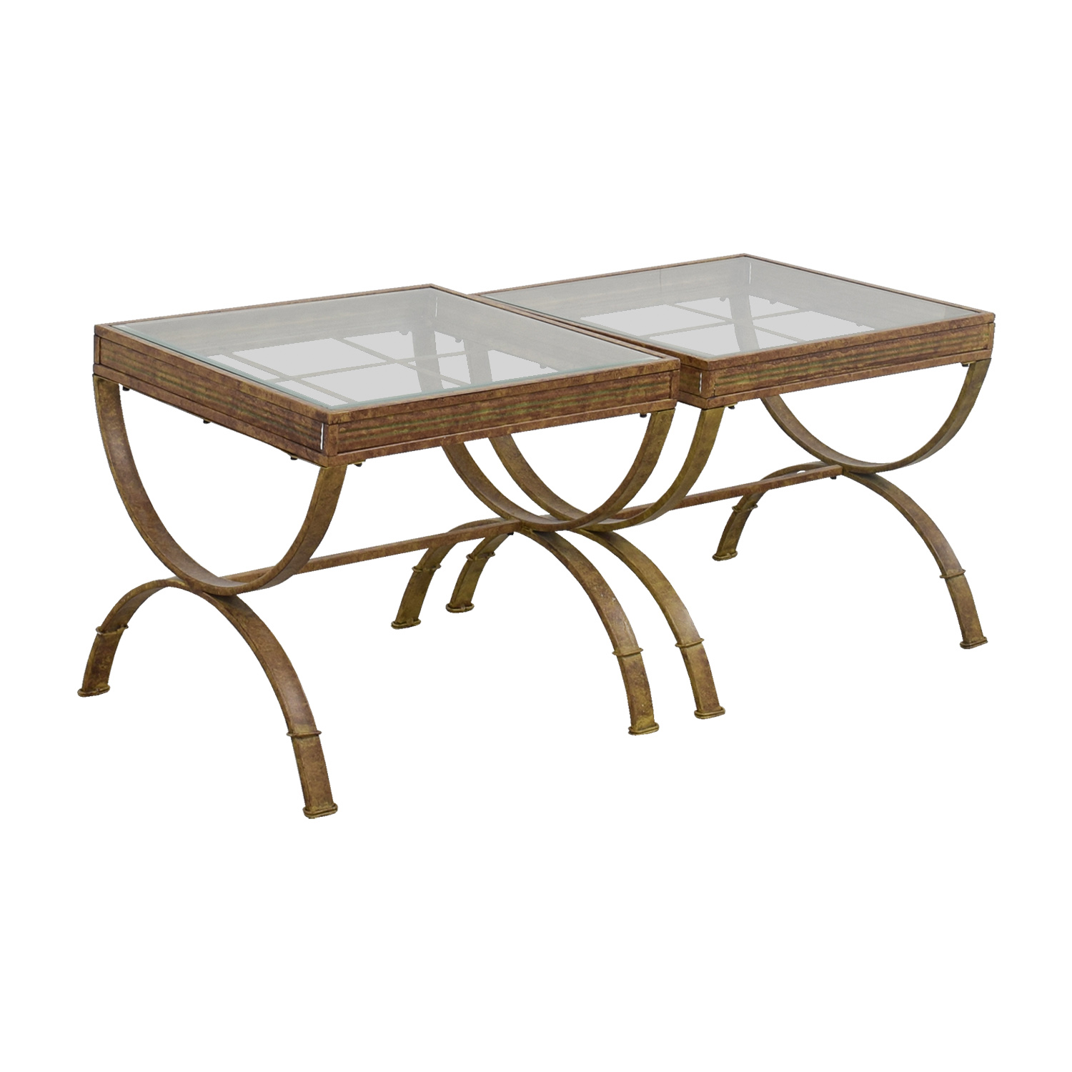 Bobs Furniture Brown and Glass End Tables / End Tables