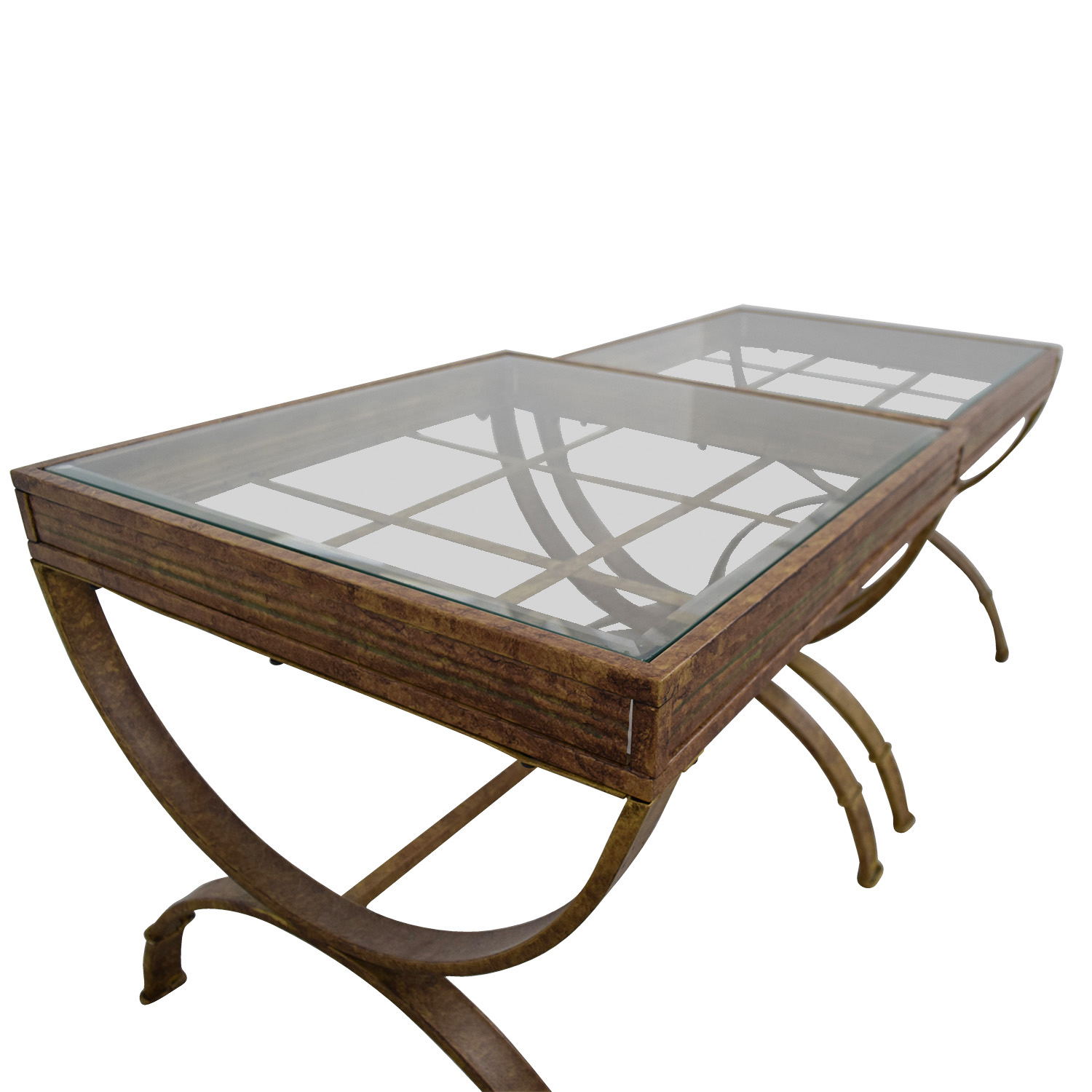 buy Bobs Furniture Bobs Furniture Brown and Glass End Tables online