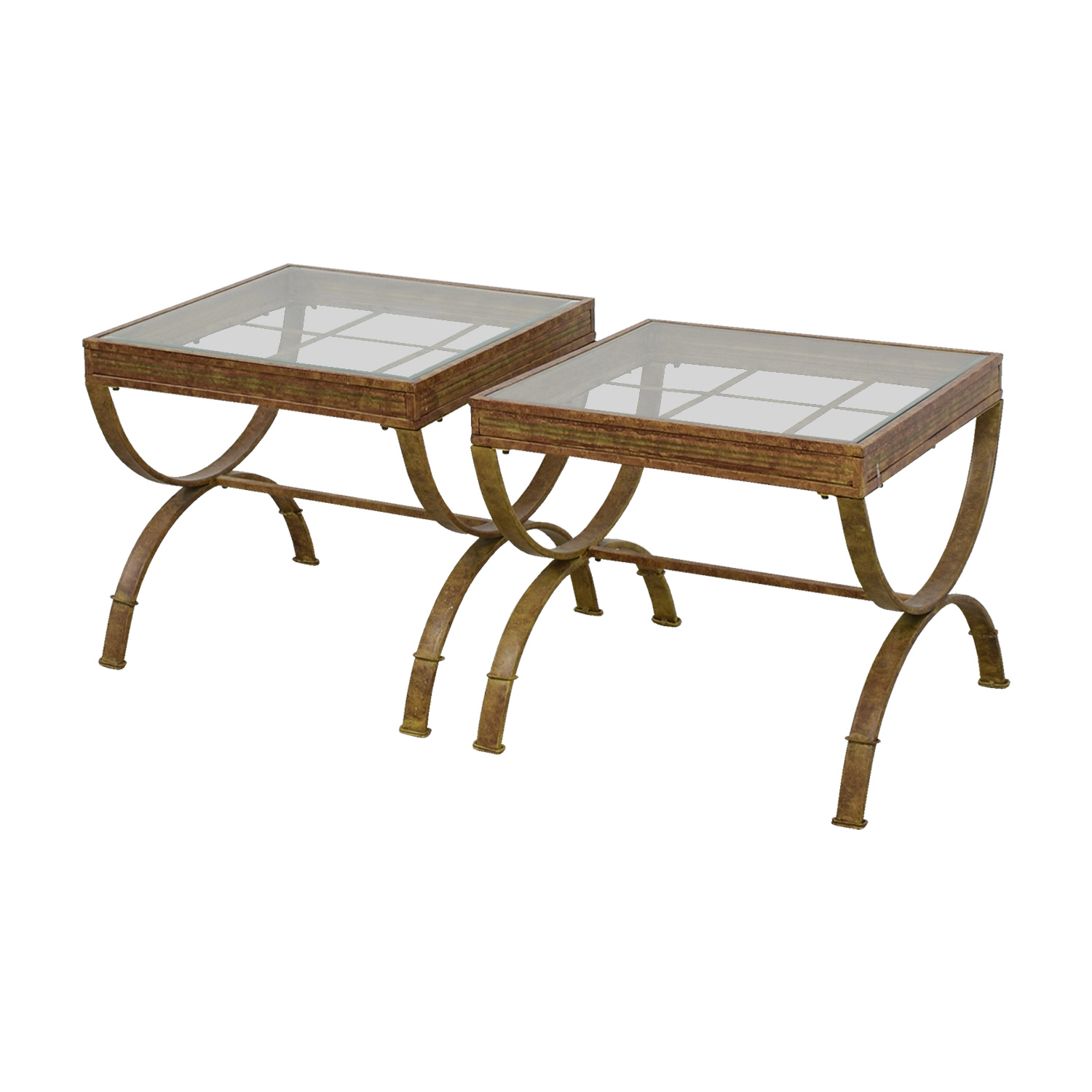 Bobs Furniture Bobs Furniture Brown and Glass End Tables dimensions