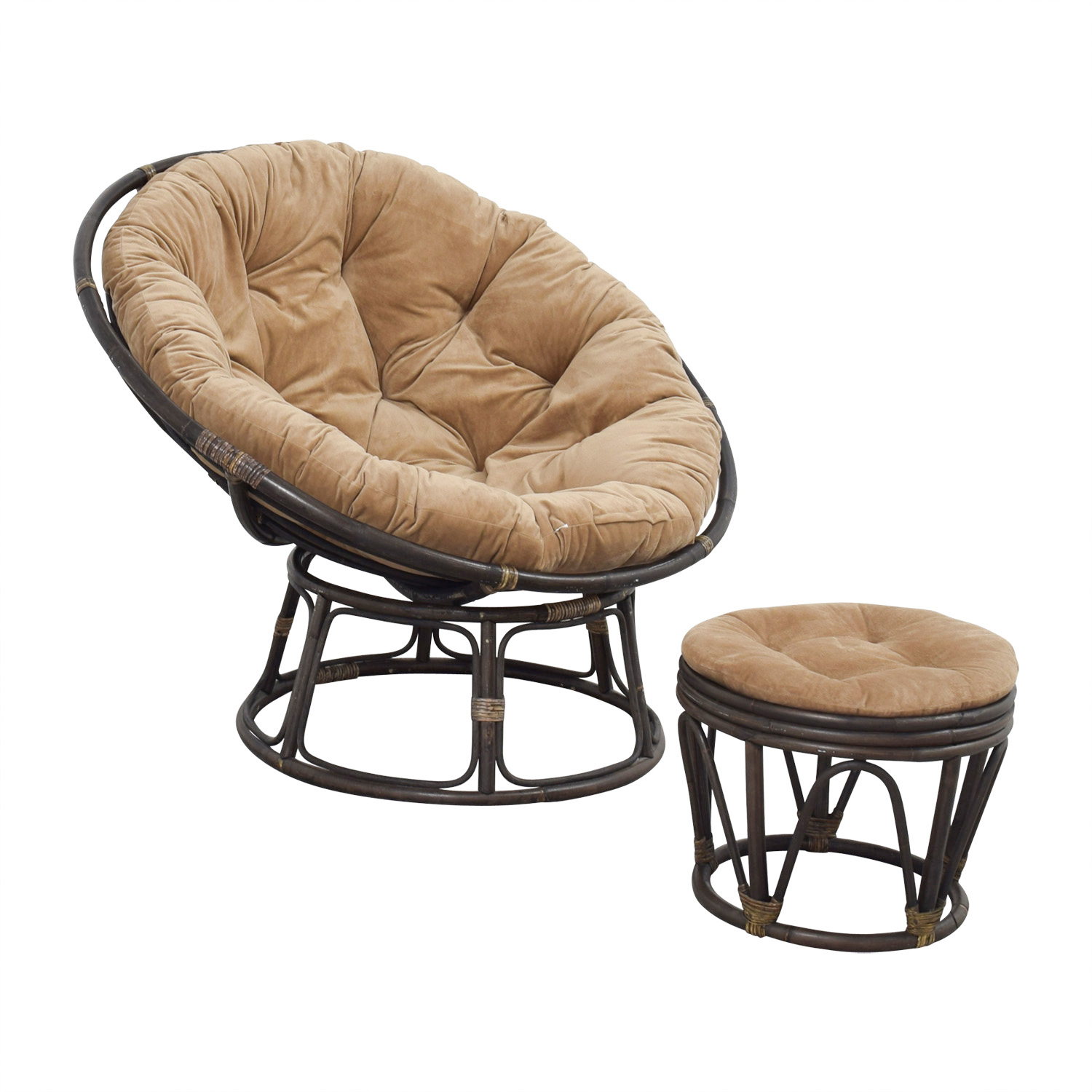Pier 1 Imports Papasan Brown Lounge Chair And Ottoman Nj