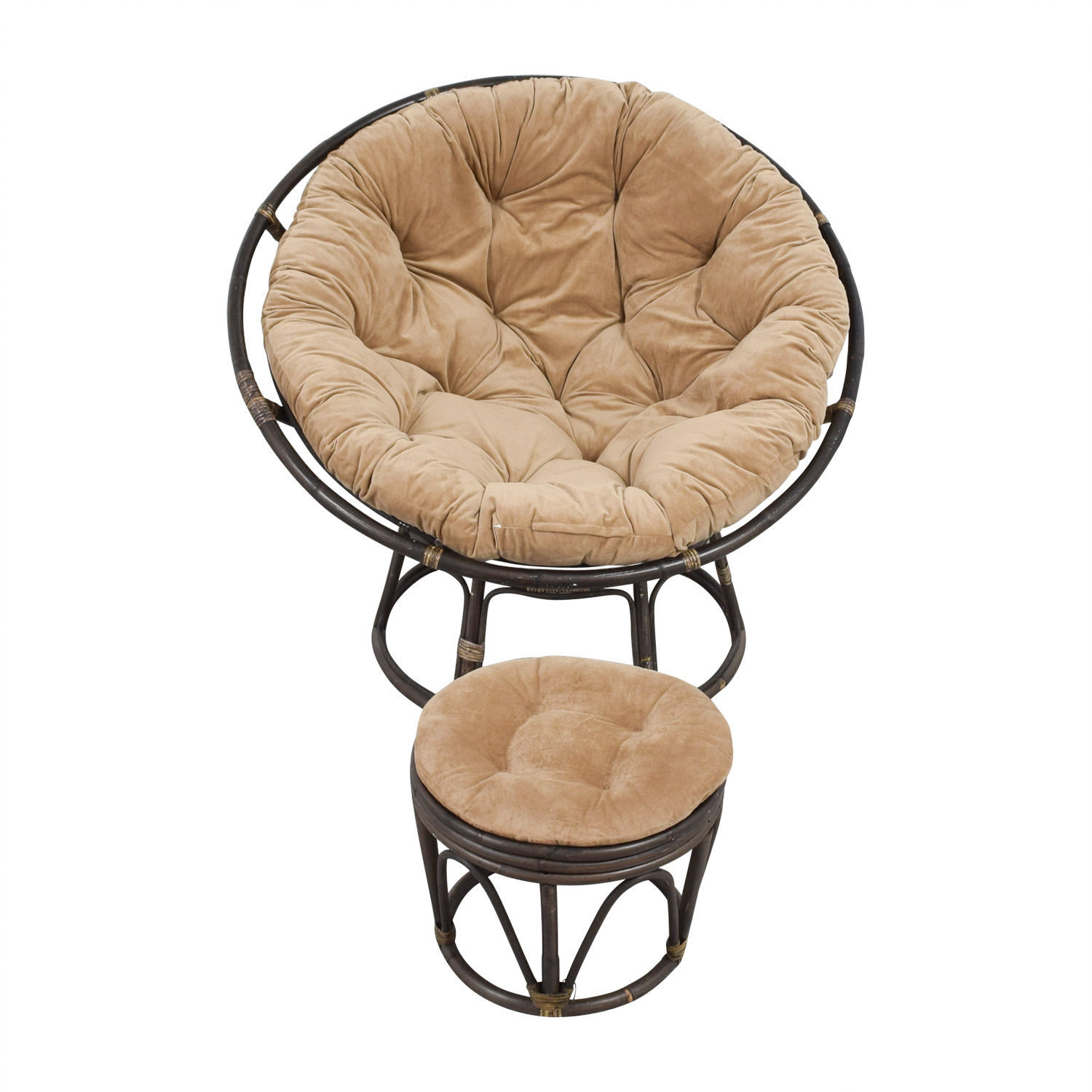 Pier 1 Imports Pier 1 Imports Papasan Brown Lounge Chair and Ottoman discount