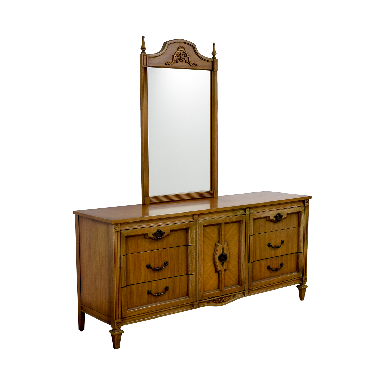 Vintage Nine-Drawer Dresser with Mirror Storage