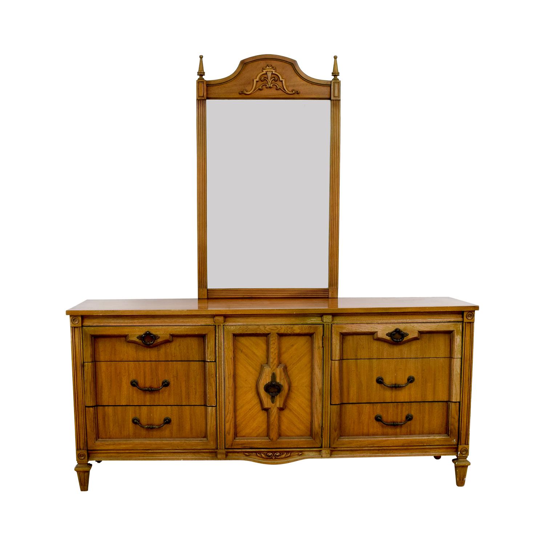 Vintage Nine-Drawer Dresser with Mirror for sale