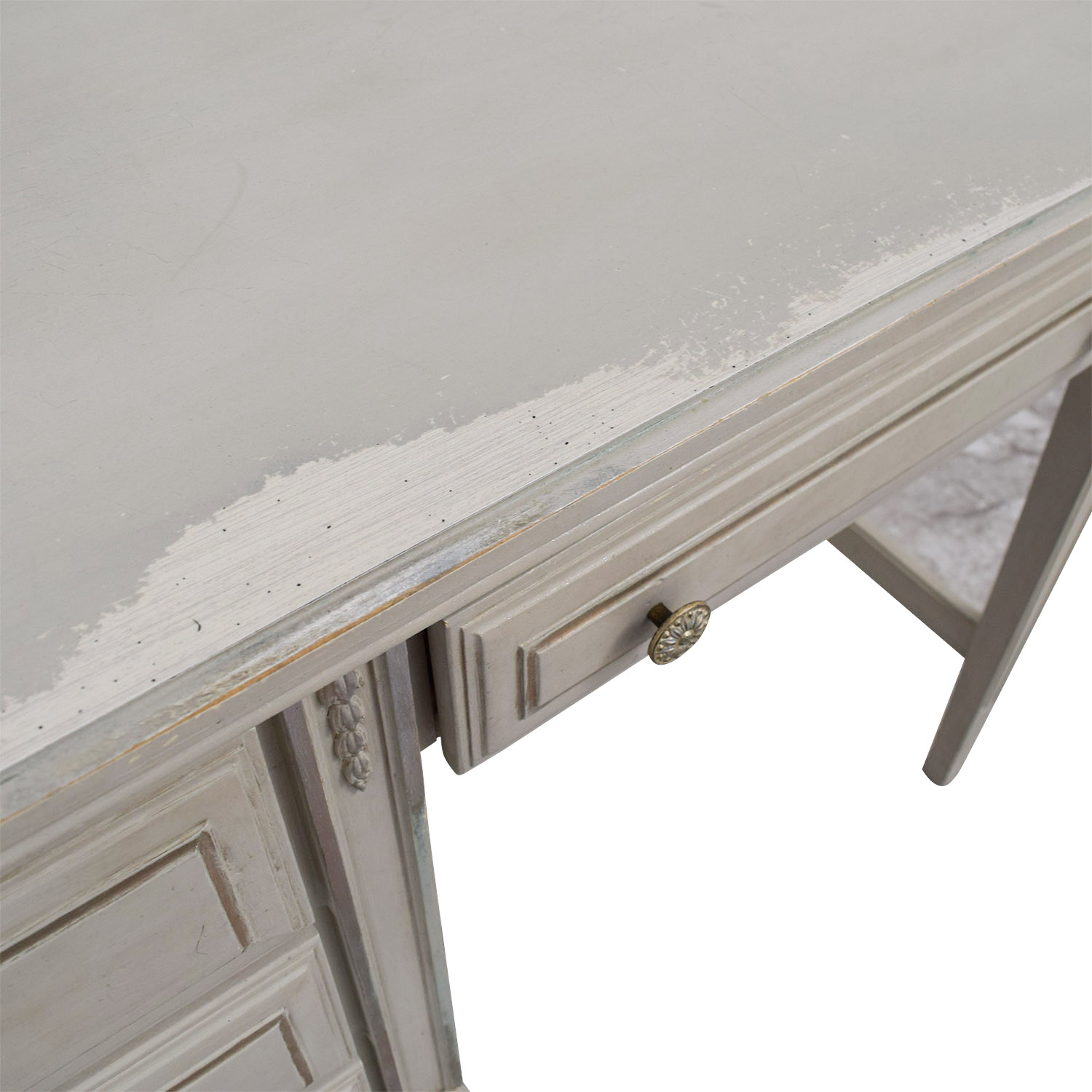 Vintage Painted Grey Four-Drawer Desk Off White