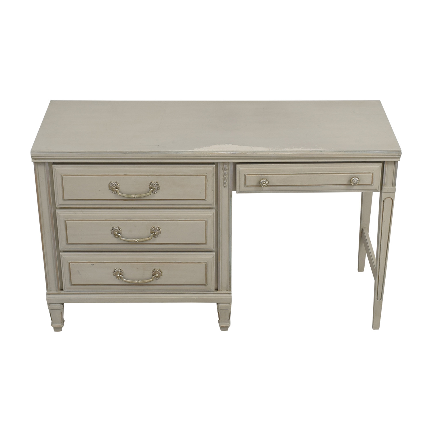 Vintage Painted Grey Four-Drawer Desk sale