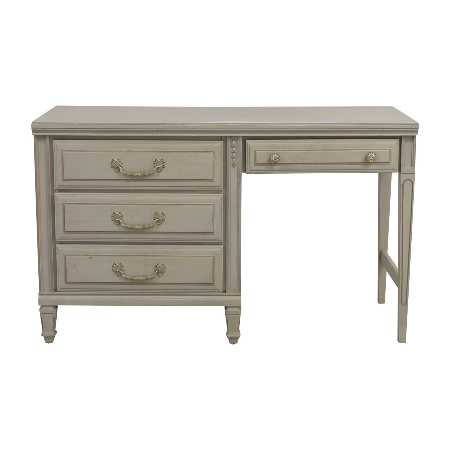 Vintage Painted Grey Four-Drawer Desk second hand
