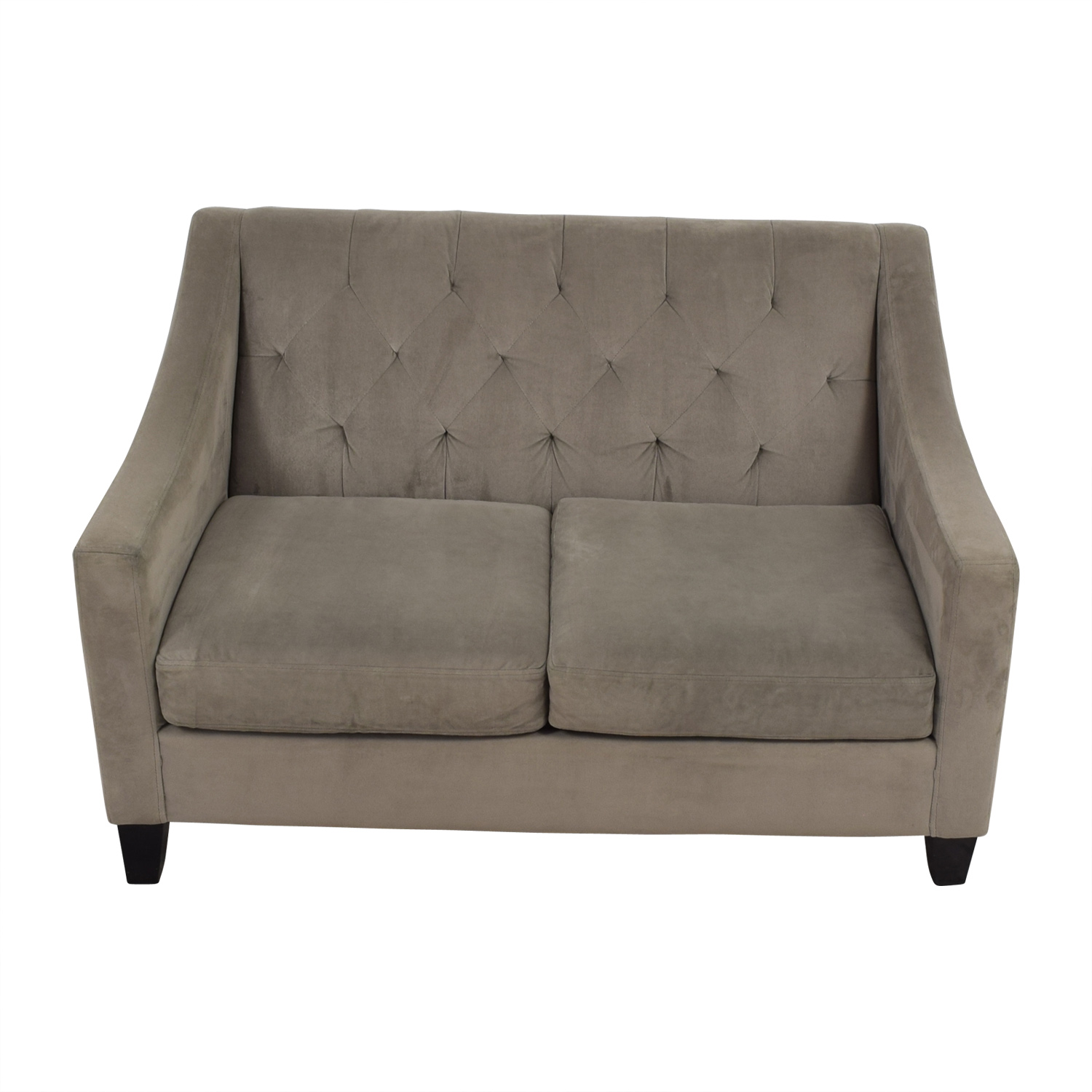 shop Better by Design Grey Tufted Two-Cushion Sofa Better by Design Classic Sofas