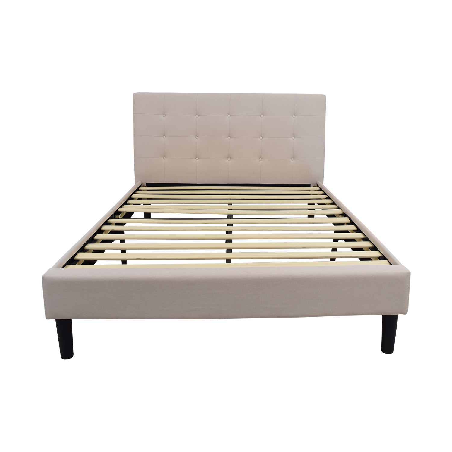 54% OFF - Beige Tufted Queen Bed Frame / Beds