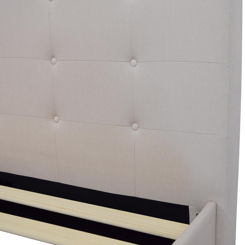 shop Beige Tufted Queen Bed Frame