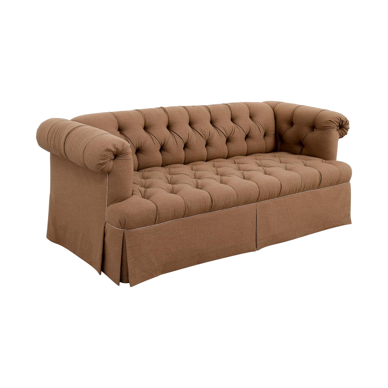 Lewis Mittman Lewis Mittman Custom Brown Tufted Sofa Classic Sofas