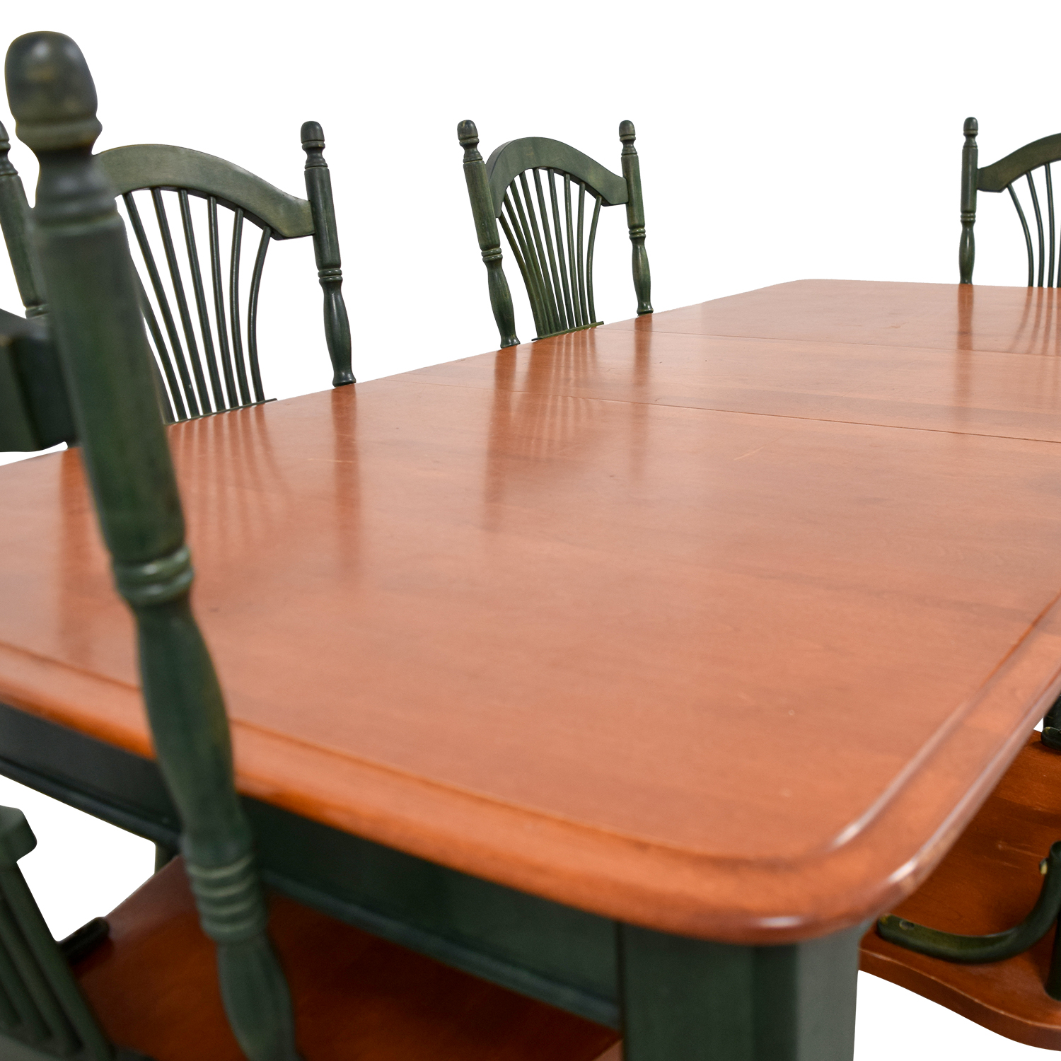 Dining Table with Extension Leaf and Green Chairs nyc