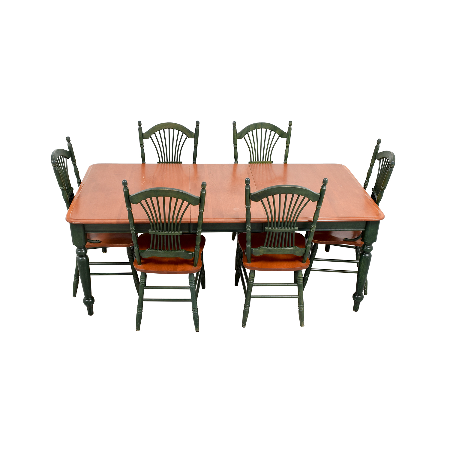 Dining Table with Extension Leaf and Green Chairs sale