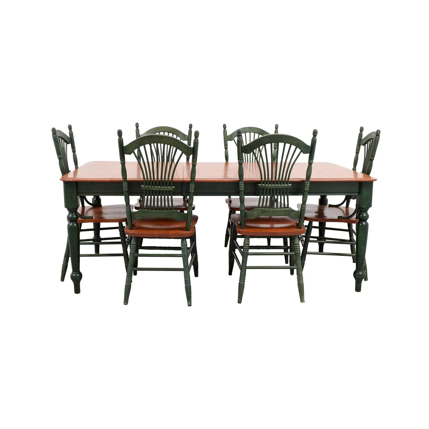 Dining Table with Extension Leaf and Green Chairs / Tables