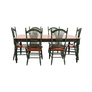 buy  Dining Table with Extension Leaf and Green Chairs online