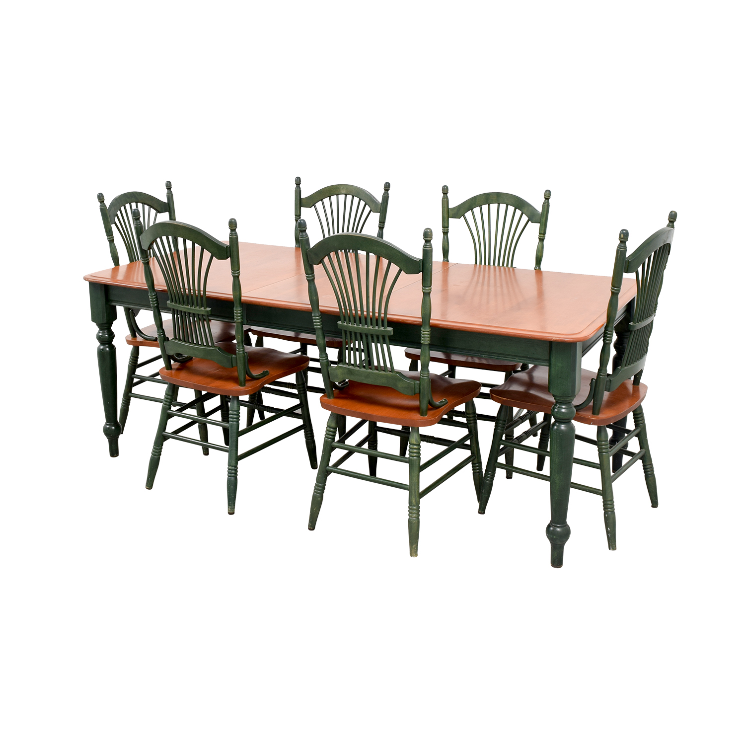 Dining Table with Extension Leaf and Green Chairs price