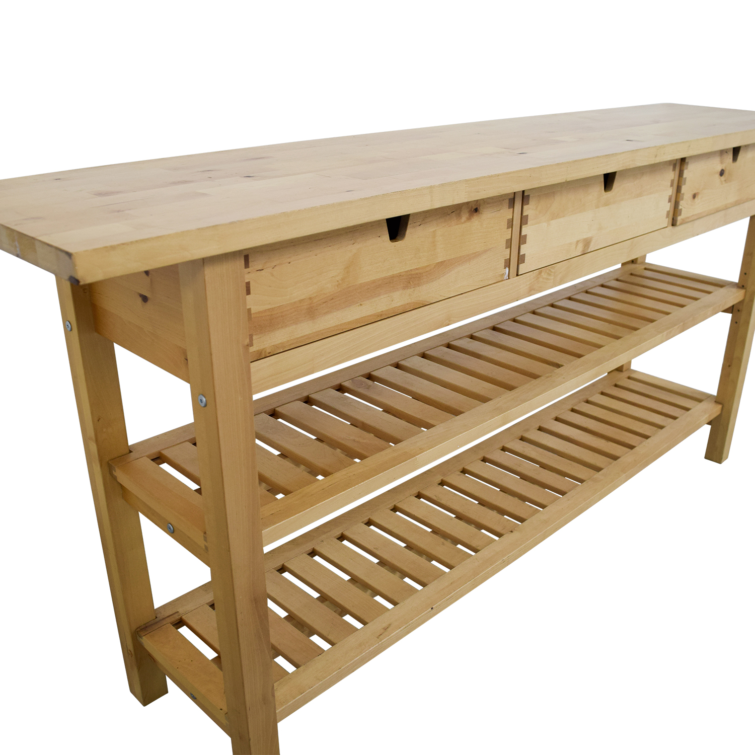 IKEA Three Drawer Long Console Table with Shelves IKEA