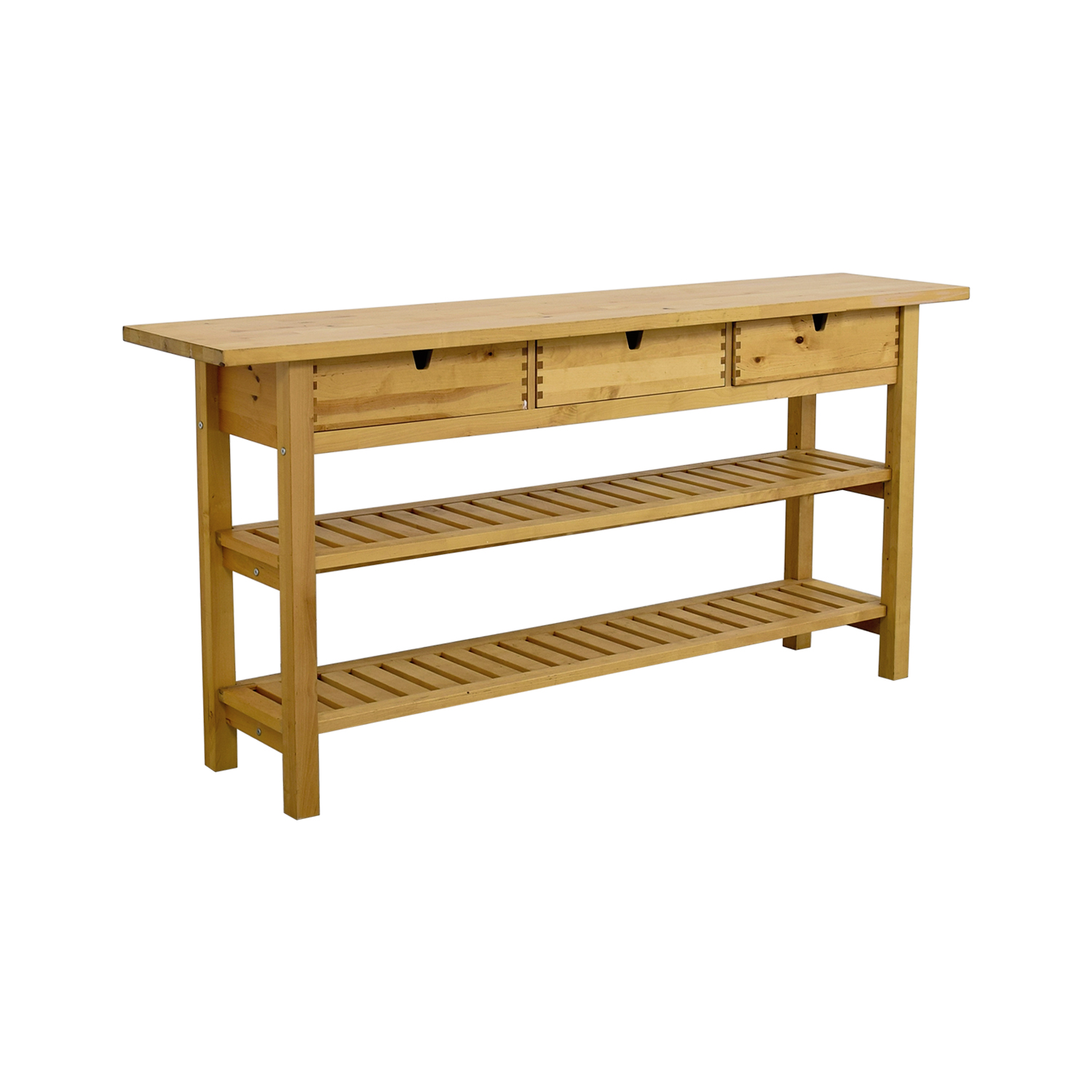 57% OFF   IKEA IKEA Three Drawer Long Console Table With Shelves / Tables