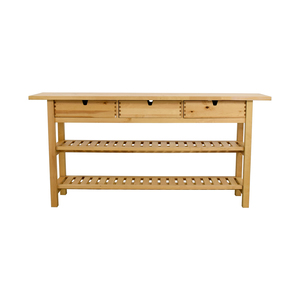 buy IKEA Three Drawer Long Console Table with Shelves IKEA