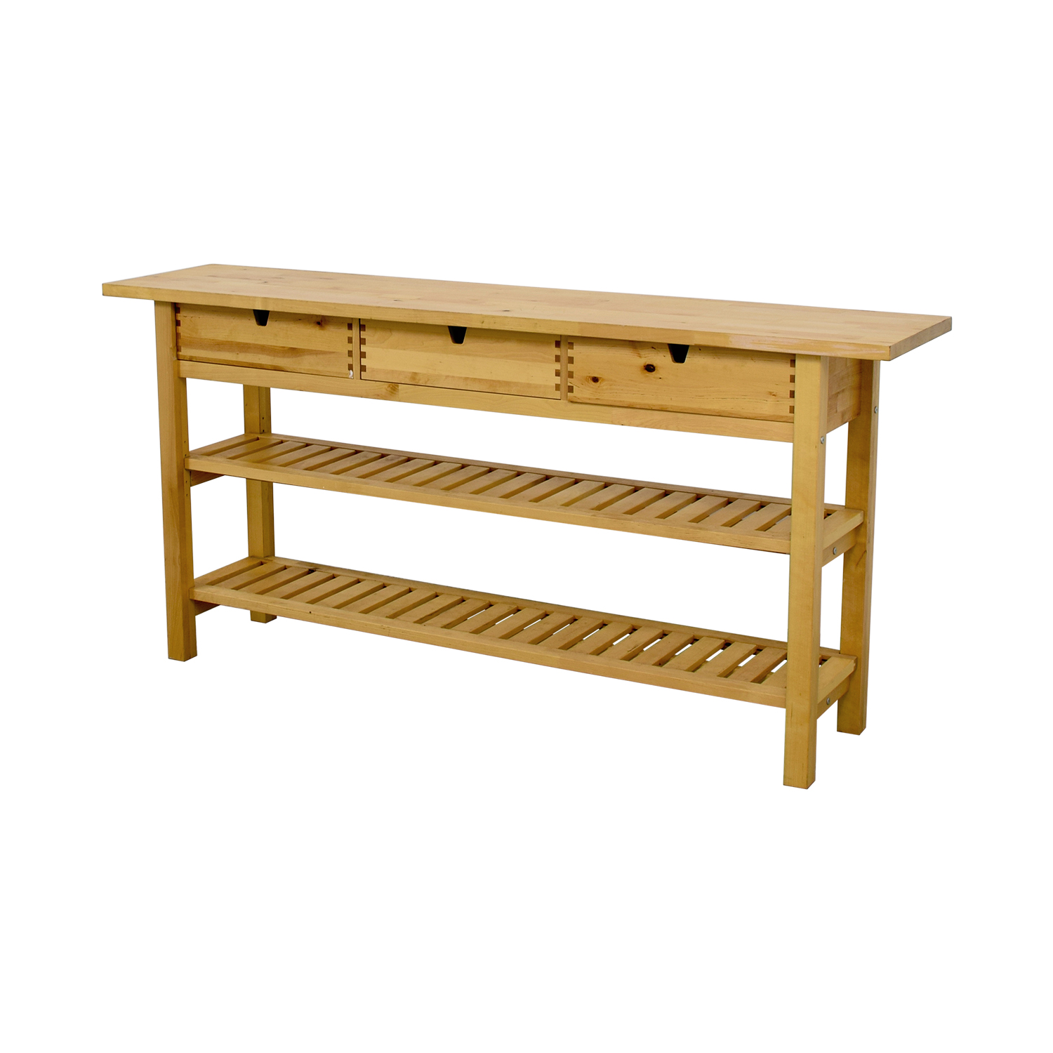 IKEA IKEA Three Drawer Long Console Table with Shelves discount
