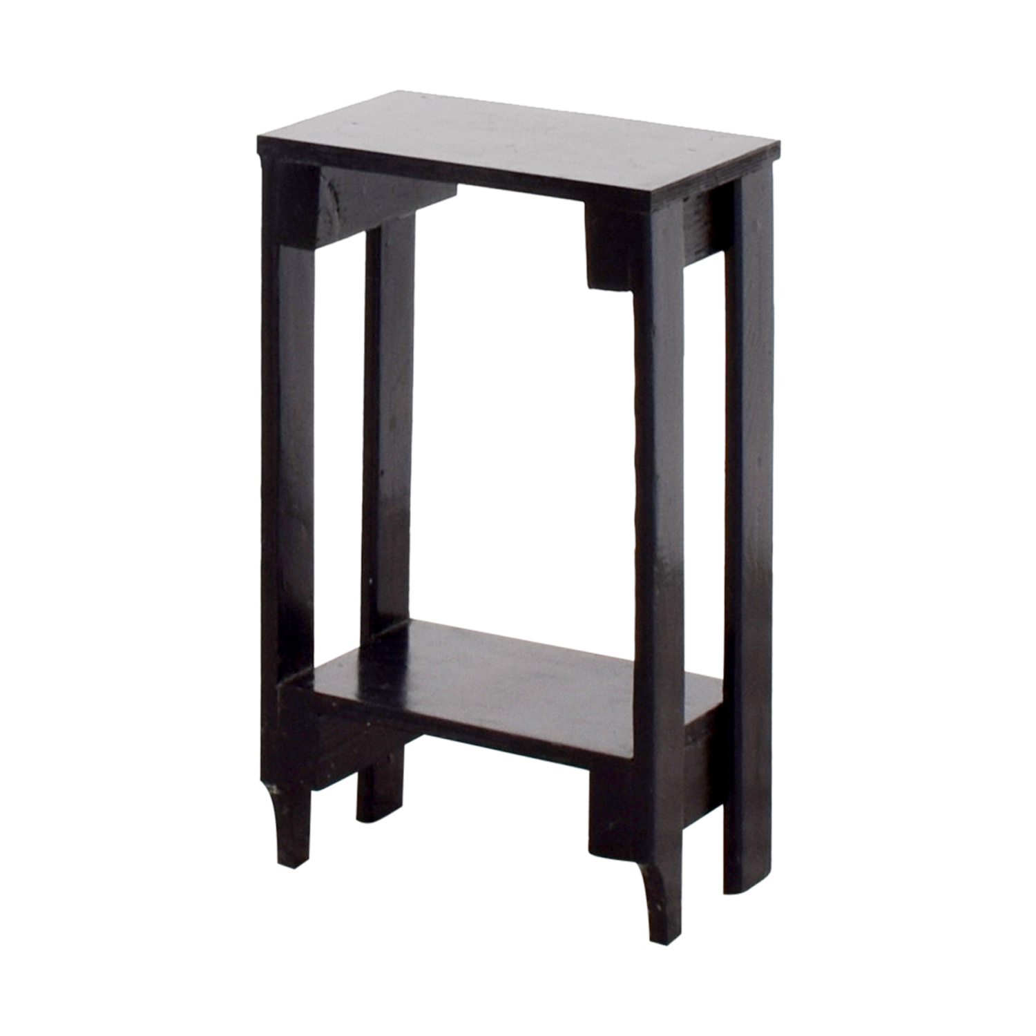 buy Small Black Table with Bottom Shelf Accent Tables