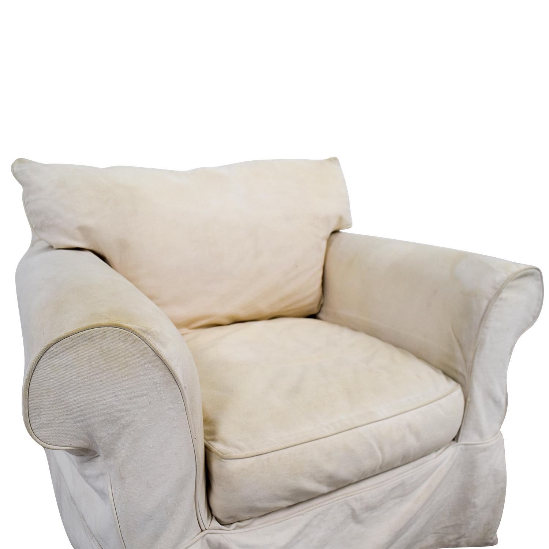 Jennifer Furniture Cream Skirted Sofa Chair / Accent Chairs