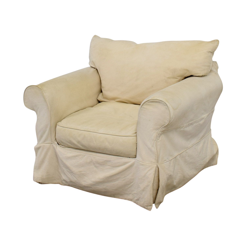 Jennifer Furniture Jennifer Furniture Cream Skirted Sofa Chair Accent Chairs