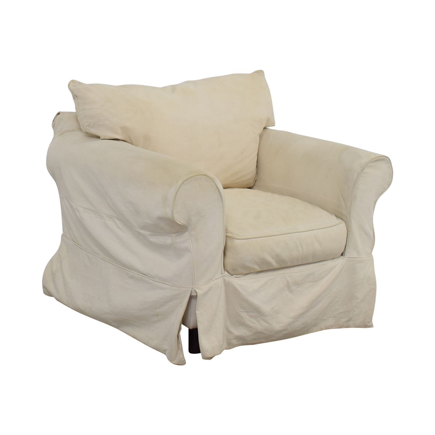 ... Jennifer Furniture Cream Skirted Sofa Chair / Chairs ...
