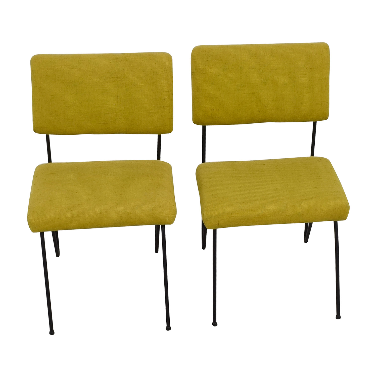 Furniture Masters Furniture Masters Green Fabric and Metal Chairs Dining Chairs