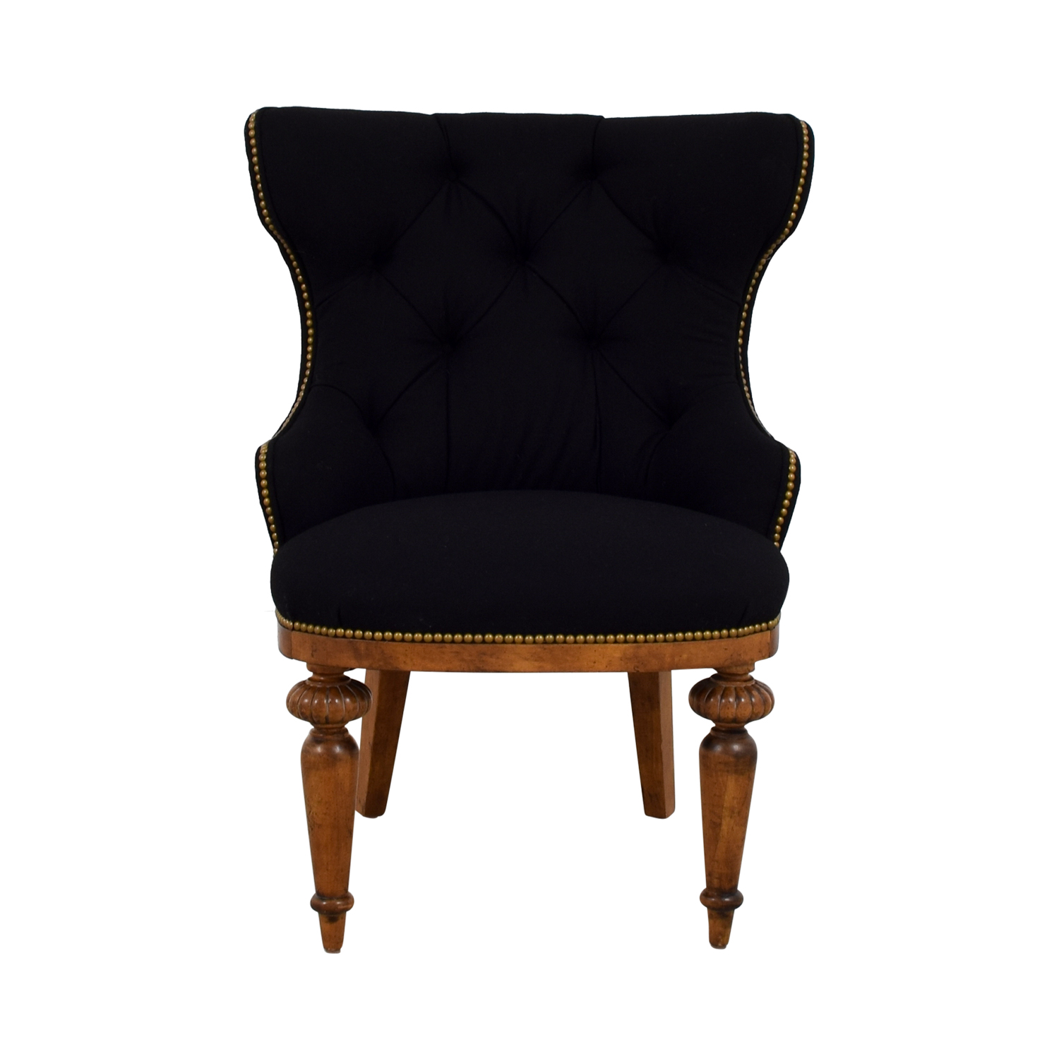 Furniture Masters Furniture Masters Black Tufted Nailhead Accent Chair dimensions