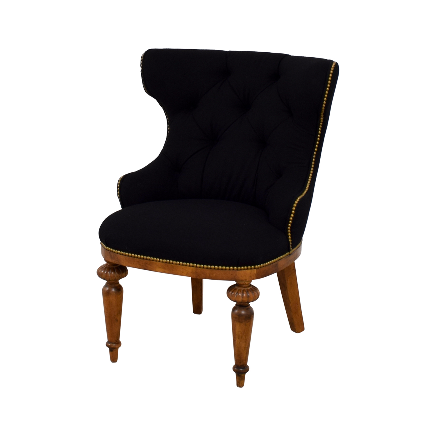 Furniture Masters Furniture Masters Black Tufted Nailhead Accent Chair Accent Chairs