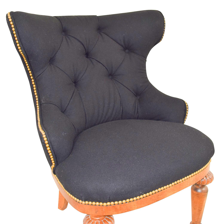 shop Furniture Masters Black Tufted Nailhead and Wood Accent Chair Furniture Masters Accent Chairs