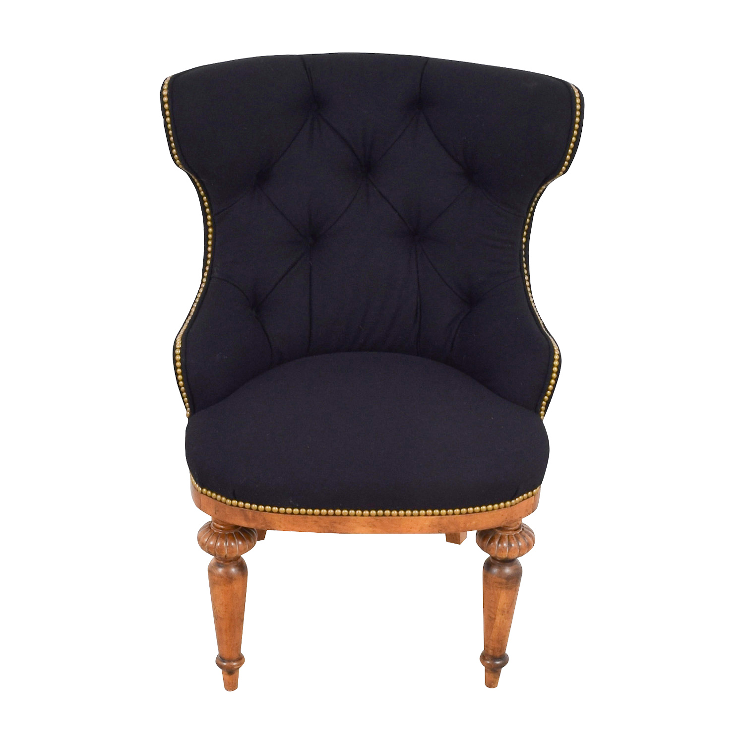 Furniture Masters Black Tufted Nailhead and Wood Accent Chair / Chairs