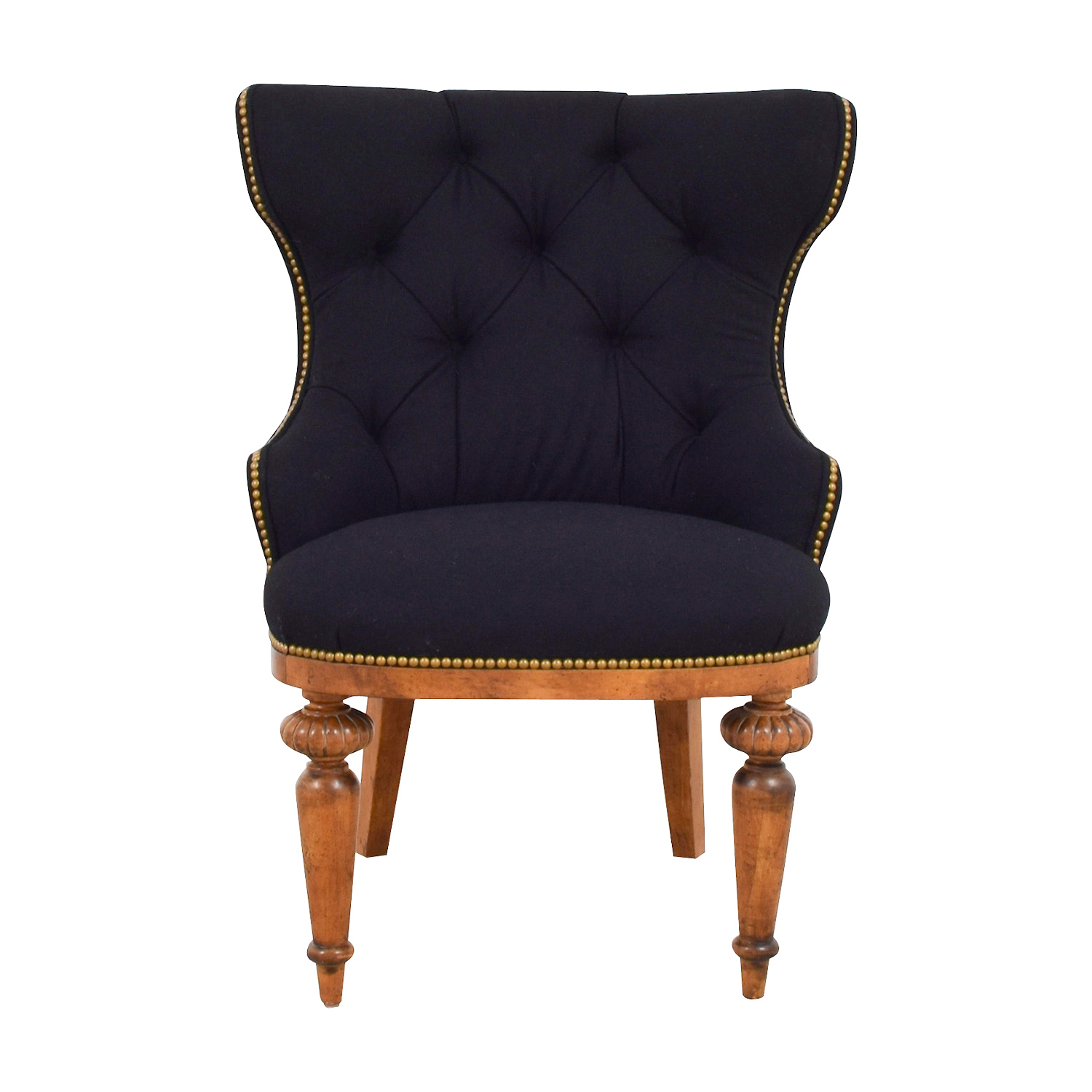 Fine 87 Off Furniture Masters Furniture Masters Black Tufted Nailhead And Wood Accent Chair Chairs Ibusinesslaw Wood Chair Design Ideas Ibusinesslaworg
