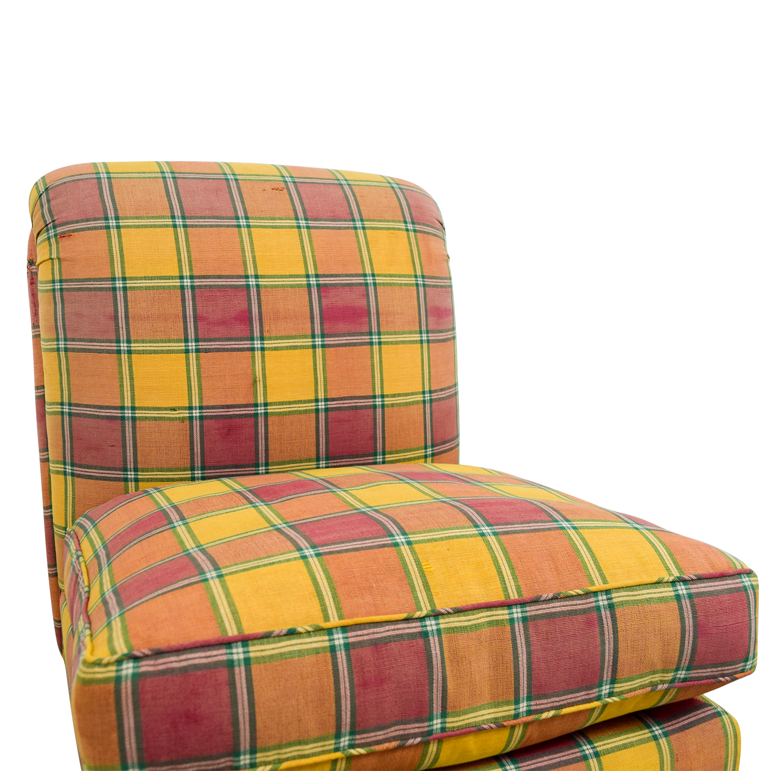 Furniture Masters Furniture Masters Red and Yellow Plaid Accent Chair dimensions