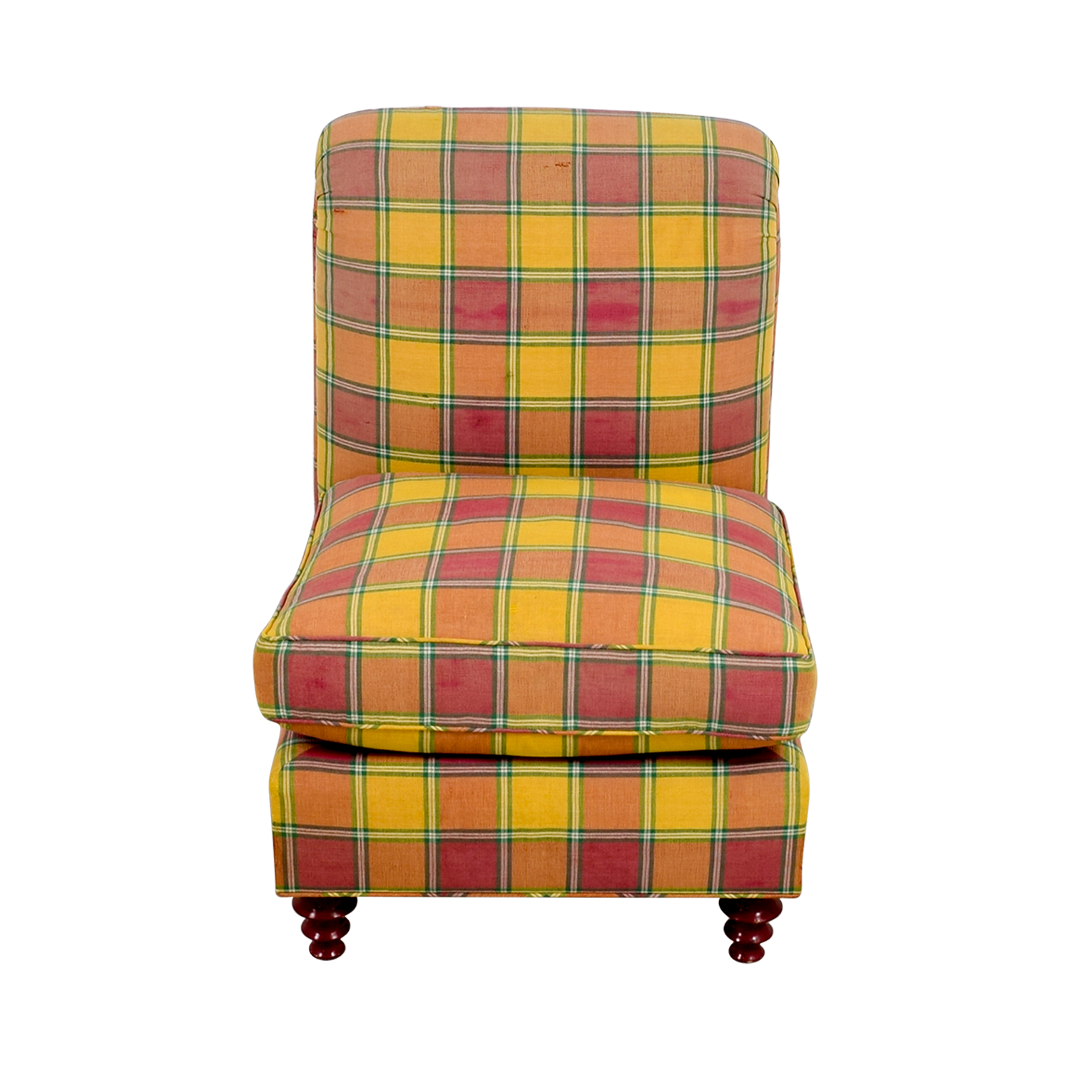 Furniture Masters Furniture Masters Red and Yellow Plaid Accent Chair nyc
